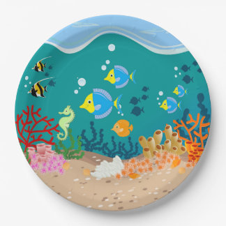 Tropical undersea scene birthday party paper plate