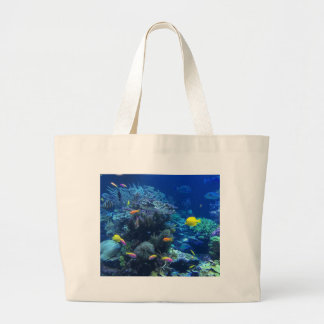 Tropical underwater fish large tote bag