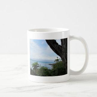 Tropical view of ocean coffee mugs