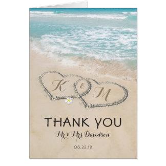 Tropical Vintage Beach Heart Shore Thank You Card