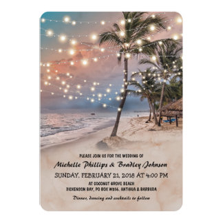 Tropical Vintage Beach Lights Wedding 13 Cm X 18 Cm Invitation Card
