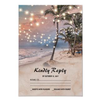 Tropical Vintage Beach Lights Wedding RSVP 9 Cm X 13 Cm Invitation Card