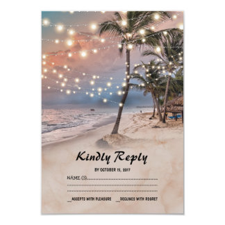 Tropical Vintage Beach Lights Wedding RSVP Card