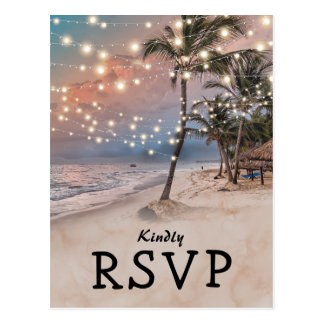 Tropical Vintage Beach Lights Wedding RSVP Postcard