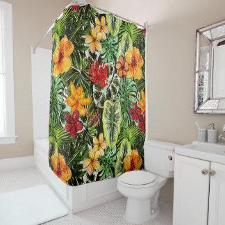 Tropical Vintage Exotic Jungle Flower Flowers Shower Curtain