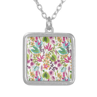 Tropical Vintage Floral Pattern Silver Plated Necklace