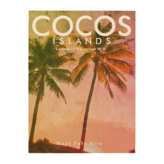 Tropical vintage travel art - Cocos Island