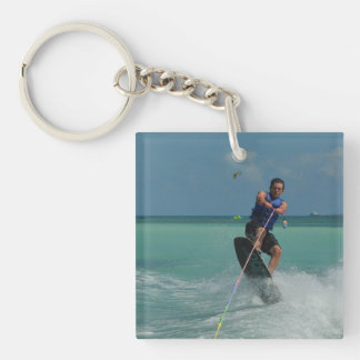 Tropical Wakeboarding Single-Sided Square Acrylic Key Ring