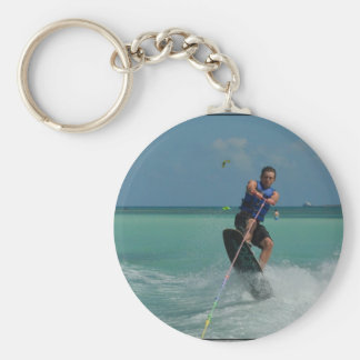 Tropical Wakeboarding Basic Round Button Key Ring