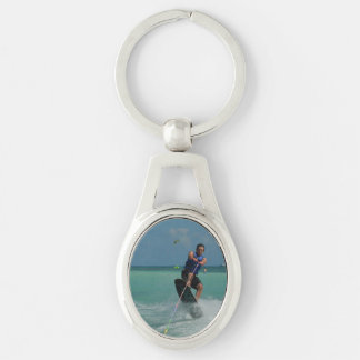 Tropical Wakeboarding Silver-Colored Oval Key Ring