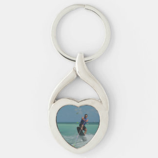 Tropical Wakeboarding Silver-Colored Twisted Heart Key Ring