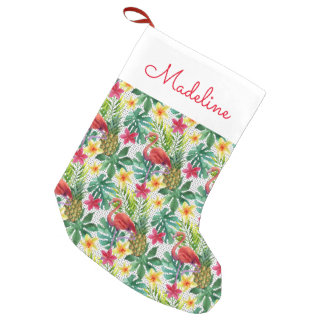 Tropical Watercolor | Add Your Name Small Christmas Stocking