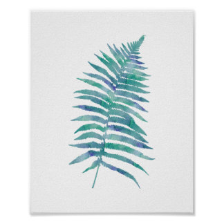 Tropical Watercolor Blue Fern Leaf Art Print
