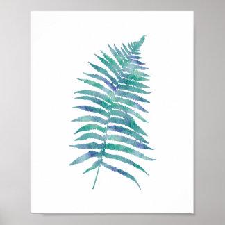 Tropical Watercolor Blue Fern Leaf Art Print
