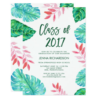 Tropical Watercolor Class of 2017 Graduation Party Card