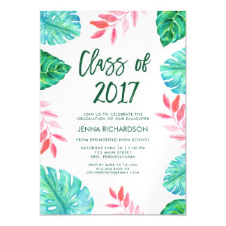 Tropical Watercolor Class of 2017 Graduation Party Magnetic Invitations