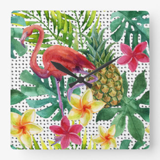 Tropical Watercolor Clock