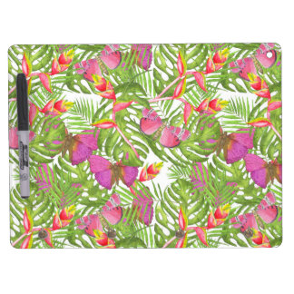 Tropical Watercolor Dry Erase Board With Key Ring Holder