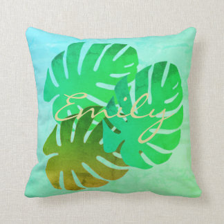 Tropical Watercolor Effect Green Leaves Pillow