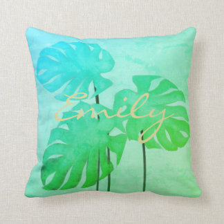 Tropical Watercolor Effect Monastera Leaves Pillow
