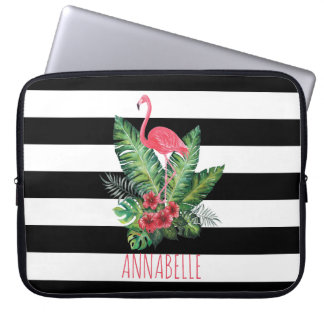 Tropical Watercolor Flamingo and flowers stripes Laptop Sleeve