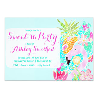 Tropical watercolor flamingo pineapple Sweet 16 13 Cm X 18 Cm Invitation Card