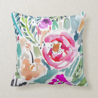 Tropical Watercolor Floral Cushion