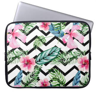 Tropical watercolor flowers laptop sleeve