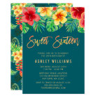 Tropical Watercolor Flowers Sweet 16 Birthday Card