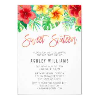 Tropical Watercolor Flowers Sweet 16 Card