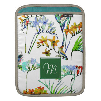 Tropical Watercolor Foliage Flowers & Birds iPad Sleeve
