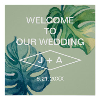 Tropical Watercolor Foliage Welcome To Our Wedding Poster