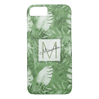Tropical Watercolor Green Leaves Monogram iPhone 7 Case