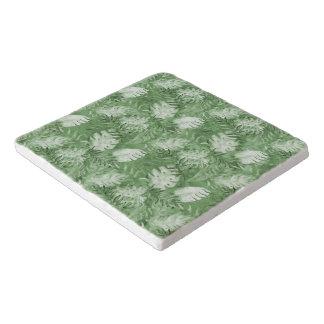 Tropical Watercolor Green Leaves Trivet