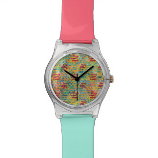 Tropical Watercolor Hibiscus Polka Dot Geometric Watch