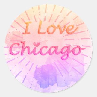 "Tropical Watercolor ""I Love Chicago"" Classic Round Sticker"