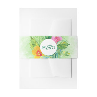 Tropical Watercolor Leaves Invitation Belly Band