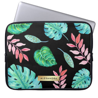 Tropical Watercolor Leaves on Black with Faux Gold Computer Sleeve
