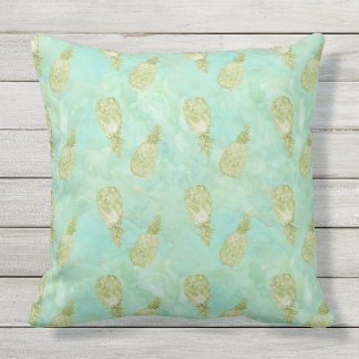 Tropical Watercolor Mint Gold Aqua Pineapples Outdoor Cushion