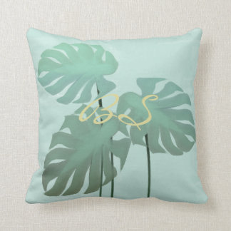 Tropical Watercolor Mint Monastera Leaves Pillow