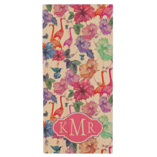 Tropical Watercolor Pattern | Monogram Wood USB 2.0 Flash Drive