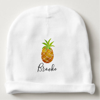 Tropical Watercolor Pineapple Fruit & Name Unisex Baby Beanie