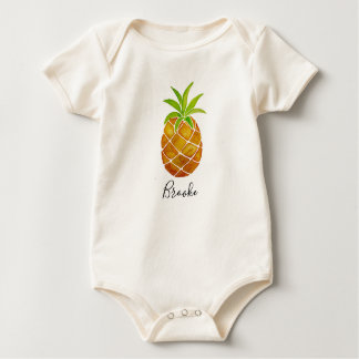 Tropical Watercolor Pineapple Fruit with Name Baby Bodysuit