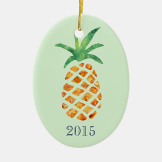 Tropical Watercolor Pineapple Green Keepsake Year Ceramic Ornament