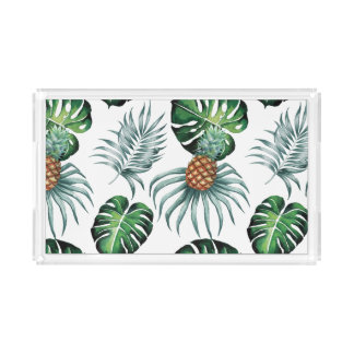 Tropical watercolor pineapple painting on white acrylic tray