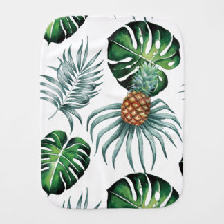 Tropical watercolor pineapple painting on white burp cloth