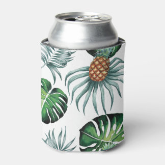 Tropical watercolor pineapple painting on white can cooler