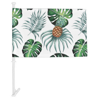 Tropical watercolor pineapple painting on white car flag