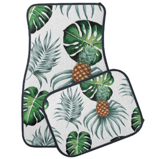 Tropical watercolor pineapple painting on white car mat