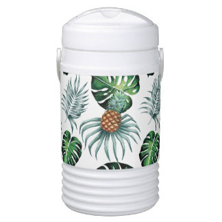 Tropical watercolor pineapple painting on white cooler